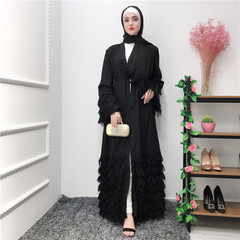 Fashion elegant nobility dubai cardigan lace female Muslim gown fashion Muslim cardigan S black