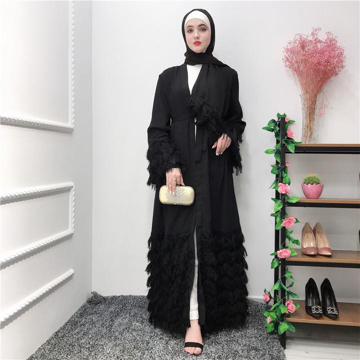 Fashion elegant nobility dubai cardigan lace female Muslim gown fashion Muslim cardigan S black