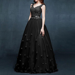 Bride long slim slimming bridesmaid wedding wedding dress dress fashion dress S black