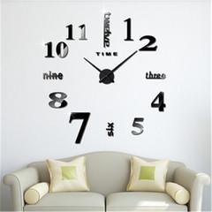 New Quartz Clocks Fashion Watches 3D Real Big Wall Clock Rushed Mirror Sticker Diy acrylic clock silvery one size