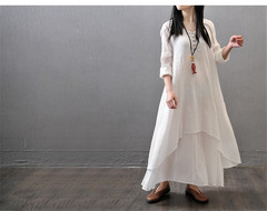 Ins the new fashion loose long-sleeved cotton linen dress fashion M white