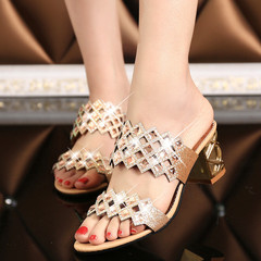 Fashion  New style women's diamond heel sandals color diamond women's slippers shoes Gold 36