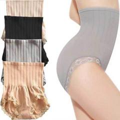 Ms High Waist Pants Belly in  Lace Shape Belly Underwear Body Shaper black one size