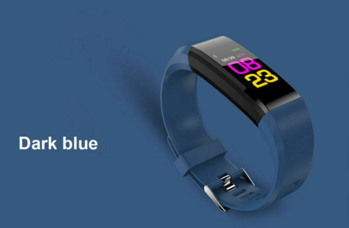 Fitness Waterproof Smart Bracelet Watch 115 Plus Blood Pressure Monitoring Heart Rate Smart Watches BLUE FREE SIZE