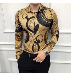SIFAn Casual Shirt Men Long Sleeve Gold Shirt Slim Fit Tuxedo Shirts Male Night Club Work Shirt gold m