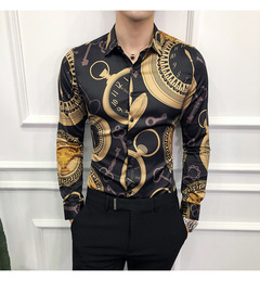 SIFAn Casual Shirt Men Long Sleeve Gold Shirt Slim Fit Tuxedo Shirts Male Night Club Work Shirt black xxxxl