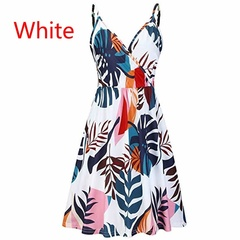 SIFAn Women Casual V Neck Sleeveless Printed Summer Loose Short Skirt Cotton Sling Dress xl WHITE