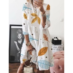 SIFAn Summer Womens Round Neck Three quarter sleeve Leaf Printed High Waist Loose Casual Dresses s white