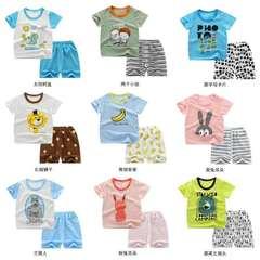 children  A set  pure cotton vest  shorts  summer  new style Cyan 80-90cm pure cotton