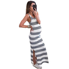 2019 New style for pregnant woman hot sell sleeveless open fork stripe a dress women' s wear summer L Grey