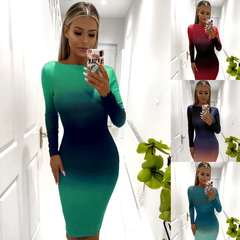 Hot sale European and American women's sexy buttocks long sleeves gradual color exposed back dresses m Purple