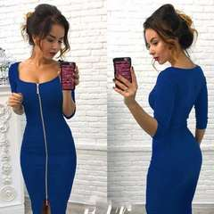 1 piece Sexy fashion medium sleeved women's zipper dress party dresses S blue