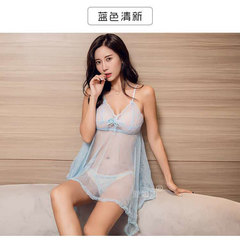 sexy Lingerie lace yarn seductive suit European and American sling sexy pajamas 60 kg water Blue