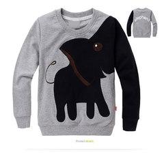 Africa children's clothing boys and girls cartoon elephant animation pattern set long sleeve T-shirt gray 100 cm pure cotton