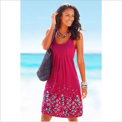 Sleeveless Printed Loose Dresses for Women's Garments in Europe and America s 01