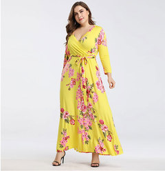 New European and American Large Size Women's Wear V-neck Printed Tie-belt Receiving Waist Long Skirt yellow s
