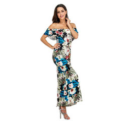 Lotus Edge Printed Long Skirt with One-Word Collar and Breast-wrapped European  Women's Dresses s 01