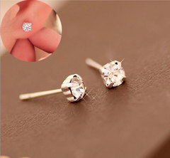Hot-selling Flash Drill Alloy Ear Nails Crystal Gem Ear Nails silvery one size