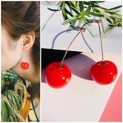 European and American Sweet Girl Red Cherry Ear Nail Resin Ear Jewelry Cherry color one size