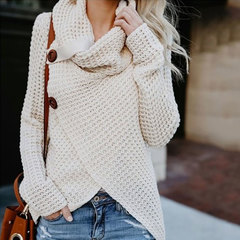 Long-sleeved irregular knitted sweaters popular in autumn and winter in Europe and America 01 m