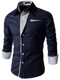 2019 new men's casual plie four seasons shirt long sleeve slim business gentleman clothes white sapphire M.