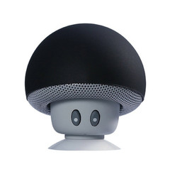 2019 Mushroom Style Portable Wireless Music Bluetooths Speaker Bass Mini Speaker With Suction Cup black one size
