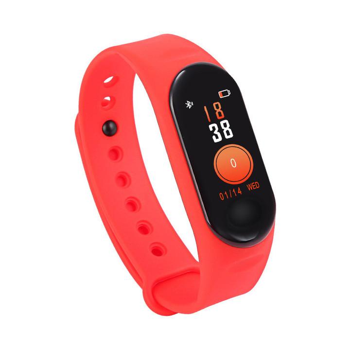 2019 Full Upgrade M3 Smart Watch Waterproof Heart Rate Monitor Bluetooth Smart Bracelet Pedometer Red One Size