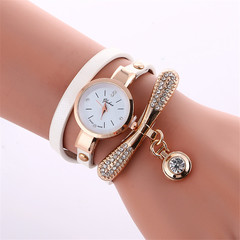 2019 Women Leather Rhinestone Decorative Wristwatches Ladies Pendant Quartz Watches white one size