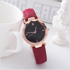 2019 New Fashion Diamond Shape Matte leather Wrist Watch Women Simple Round Dial Wristwatch red one size