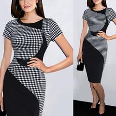 2019 Fashion Elegant O-neck Sleeveless Knee-length Women splice Slimming Dresses Pencil skirt s Black