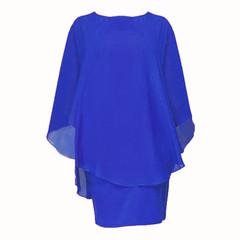 Plus Size Women Ladies Fashion Chiffon Dress Casual Hlaf Sleeve Pure Color Irregular Elegant Dress s Blue