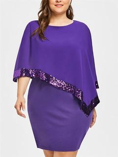 Plus Size Women Black Blue Color Dresses Elegant Office Work Dress Long Sleeve Party Dress s Purple