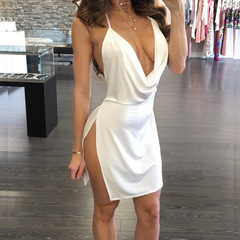 2019 Sexy Party Dress For Ladies - High Slit Sleeveless Halter Top Low chest Open back Dress s White