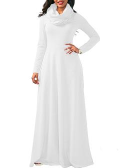Spring Autumn Women Ladies Heap Collar Long Sleeve Side Zipper Maxi Long Dress Scarf Dress 3xl White