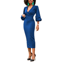 Women Sexy Dresses Solid Bodycon Party Dresses Casual Splicing Dress Vestido Office Lady Dress s blue