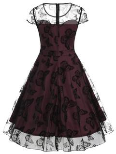 Summer sleeveless mesh o neck vestido de festa robe femme elegant party dress s as pictures