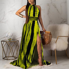S-XL Sleeveless women dress Flower printing pleated long dress party skirt s green
