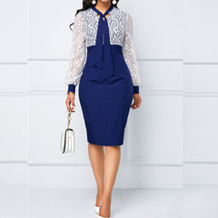 Lace Dresses Long sleeve OL Ladies Business Office Wear To Work Elegant Pencil Formal Dresses s blue