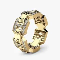European and American Punk Men's Ring Creative Men's Business Ring yellow 6