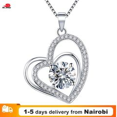 Women New Heart-shaped Diamonds Necklace Women Dress Accessories Necklace Jewelry white the size is shown in the figure