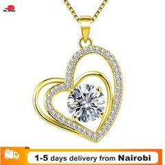 Women New Heart-shaped Diamonds Necklace Women Dress Accessories Necklace Jewelry yellow the size is shown in the figure