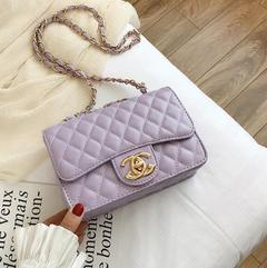 2019 new elegant shoulder, luxurious rhombic chain bag shoulder diagonal package purple one size