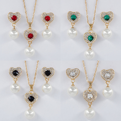 Jewelry Set Elegant Luxurious Rhinestones Earrings and Necklace Pendant Women Gift random normal