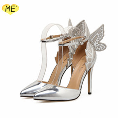 Butterfly Wings Embroidery High Heels Shoes Pointed Hollow Stiletto Women Shoes Wedding Shoes Silver silver 40