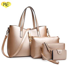 Fashion Mother Bag Four-piece Lady Bag One-sldhouer Slant Straddle Bag Quality Practical Women Bag gold one size