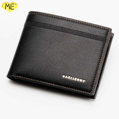 Buy One Get One Free Men's Business Casual Wallet Litchi Leather Wallet Men's Wallet Men's Bags black one size
