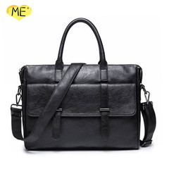 Men's PU Messenger Bag Fashion Handbag Casual British Style Briefcase Vintage Computer Bag black one size
