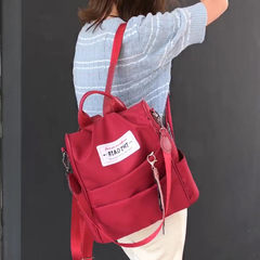 BLACK FRIDAY FBK PROMO Casual Travel Backpack Women Daily Backpack Back Zipper Anti-thief Schoolbag Red One Size