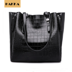 Crocodile Embossed Women's Handbag  Leather Tote Shoulder Bags Big Capicity Black 12inch*5inch*12inch