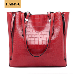 Crocodile Embossed Women's Handbag  Leather Tote Shoulder Bags Big Capicity Red wine 12inch*5inch*12inch